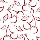 Sömlös bakgrund med körsbärsröda konturer. Arkivfoton