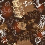 Sömlös bakgrund med kaffe Arkivbild