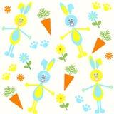 Sömlös bakgrund med kaniner, morötter Stock Illustrationer