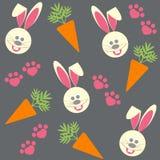 Sömlös bakgrund med kaniner och morötter Vektor Illustrationer