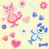 Sömlös bakgrund med katter, hundkapplöpning och hjärta Stock Illustrationer