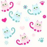 Sömlös bakgrund med katter och hjärta Stock Illustrationer