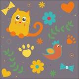 Sömlös bakgrund med katter och hjärta Royaltyfri Illustrationer