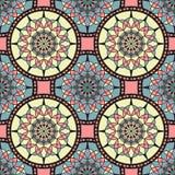 Sömlös bakgrund med konturer av orientaliska mandalas Arkivfoton