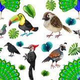 Sömlös bakgrund med många lösa fåglar royaltyfri illustrationer