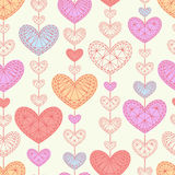 Sömlös bakgrund med mångfärgade hjärtor Arkivbilder