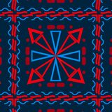 Sömlös bakgrund med olika geometriska former som är blåa med rött, celler vektor illustrationer