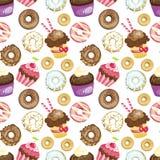 Sömlös bakgrund med olika sötsaker och efterrätter belagd med tegel donuts- och muffinmodell Gullig textur för inpackningspapper Royaltyfri Fotografi