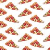 Sömlös bakgrund med pizza royaltyfri illustrationer