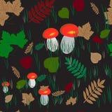 Sömlös bakgrund med röda eller orange asp- champinjoner i skogen stock illustrationer