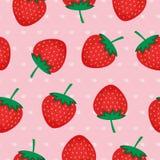 Sömlös bakgrund med röda jordgubbar Fotografering för Bildbyråer