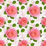 Sömlös bakgrund med rosa rosor och kronblad royaltyfri illustrationer