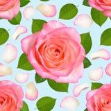 Sömlös bakgrund med rosa rosor och kronblad stock illustrationer