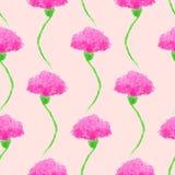 Sömlös bakgrund med rosa vattenfärgblommor Arkivbild
