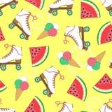Sömlös bakgrund med rullar, vattenmelon och glass En enkel modell vektor unga vuxen människa ferier Arkivbild