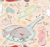 Sömlös bakgrund med smakfiskmaträtten Royaltyfri Fotografi