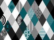 Sömlös bakgrund med texturerade mångfärgade trianglar Arkivfoto