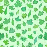 Sömlös bakgrund med trädsidor, grönska och lövverk tapetserar Stock Illustrationer