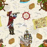 Sömlös bakgrund med två piratkopierar kaptener och uppskattar översikten Royaltyfri Foto