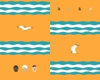 Sömlös bakgrund med vågor och fåglar och folk stock illustrationer