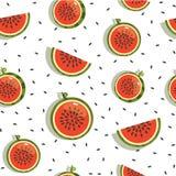 Sömlös bakgrund, modell med vattenmelonskivor Arkivfoton