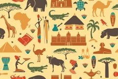 Sömlös bakgrund på ett tema av Afrika Royaltyfria Bilder