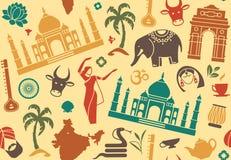 Sömlös bakgrund på ett tema av Indien stock illustrationer