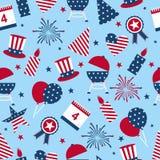 Sömlös bakgrund till dagen av självständighet av USA Sömlös modell för självständighetsdagen - fjärdedel USA för nationell ferie  stock illustrationer