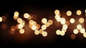 Sömlös bakgrundsanimering för härlig guld- bokeh på svart Kretsad suddig ljus blinkaljusgarnering cg 4K stock video