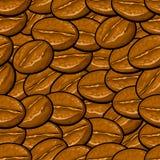 Sömlös bakgrundsmodell för tecknad film, kaffebönor Arkivbilder
