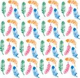 Sömlös bakgrundsmodell med abstrakta färgfjädrar abstrakt bakgrund colours illuctrationredvektorn royaltyfri illustrationer
