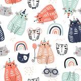 Sömlös barnslig modell med roliga färgrika katter och ranbows Idérik scandinavian ungetextur för tyg som slår in, textil vektor illustrationer
