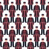 """Sömlös Beefeatersoldat - det London för hemmansägarewarder†""""symbolet - Fotografering för Bildbyråer"""