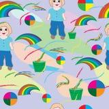 Sömlös-behandla som ett barn-bakgrund-med-behandla som ett barn - borsten, - regnbåge-och-blommor vektor illustrationer