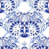 Sömlös blå blom- modell med gallerremsor av vattenfärgen Efterföljd av målning på porslin i den ryska stilen Gzhel eller C Royaltyfria Bilder