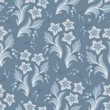 Sömlös blå blom- vektortapetmodell Royaltyfri Fotografi