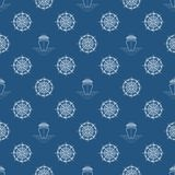 Sömlös blå maritim modell Royaltyfri Bild