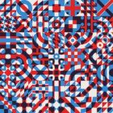 Sömlös blå röd för vit modell för täcke för kvarter färgsamkopiering för vektor ojämn geometrisk Arkivfoto