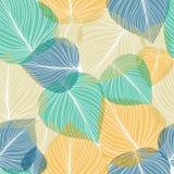 Sömlös bladbakgrund, vektorillustration Arkivfoto