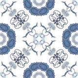 Sömlös blom- bakgrund, blått symbolical Royaltyfri Foto