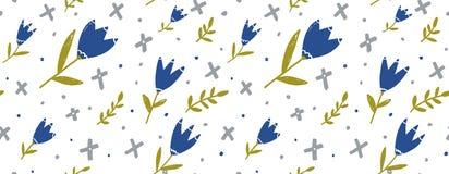 Sömlös blom- bakgrund för papper, tyg och rengöringsdukdesign Blå hand drog tulpan, gräsplanris och grå geometri stock illustrationer