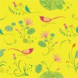 Sömlös blom- bakgrund med fåglar Royaltyfri Bild