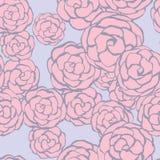 Sömlös blom- bakgrund med hand drog försiktiga rosor. Vector/ Royaltyfri Fotografi