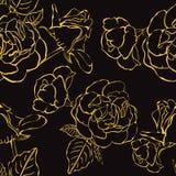 Sömlös blom- bakgrund med hand drog guld- rosor. Vektor EPS10 Arkivfoto