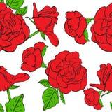 Sömlös blom- bakgrund med hand drog röda rosor. Vektor EPS10 Royaltyfria Foton