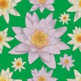 Sömlös blom- bakgrund med vita liljor vektor illustrationer