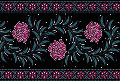 Sömlös blom- gräns med svart färg royaltyfri illustrationer