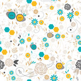 Sömlös blom- modell, bi stock illustrationer