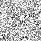 Sömlös blom- modell för färgläggningbok Royaltyfri Illustrationer