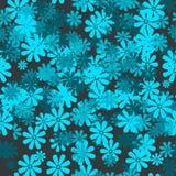 Sömlös blom- modell i blåa signaler Arkivbilder